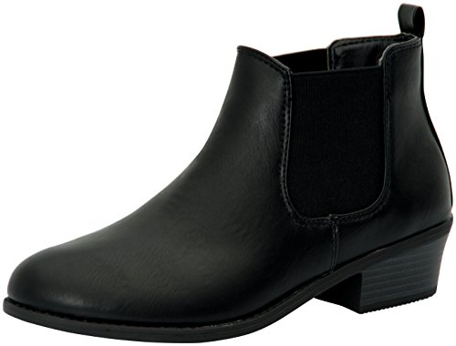 Refresh Womens Tildon-02 Almond Toe Simple Flat Heel Ankle Booties,9 B(M) US,Black