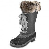 London Fog Womens Melton Cold Weather Snow Boot Black/Grey 6 M US