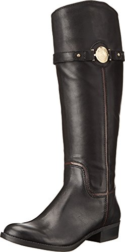 Tommy Hilfiger Women's Dabia Riding Boot Black Leather 8.5 M