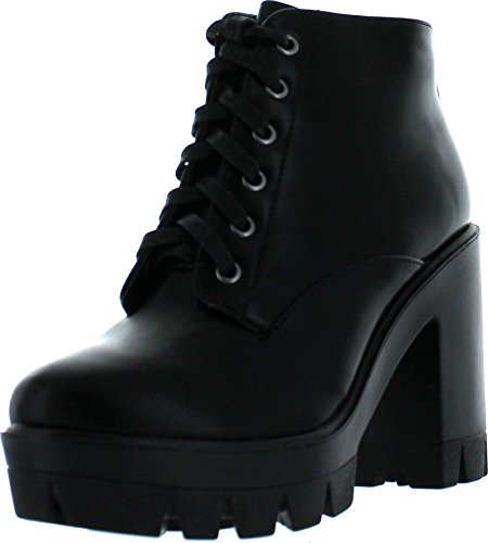 Bamboo Jonas-02 Women Lace Up Chunky Heel Lug Sole Platform Combat Ankle Bootie,Black Crp,8.5