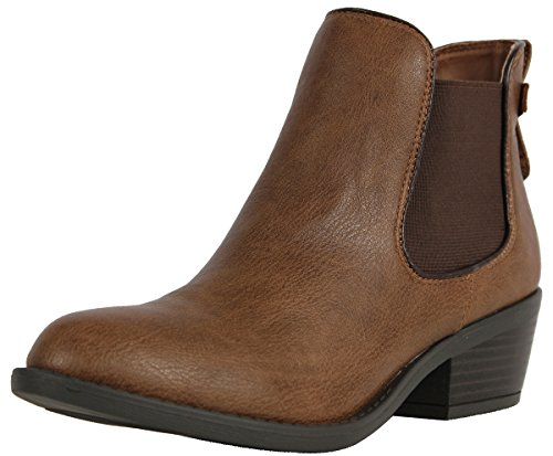 Soda Women's Chelsea Faux Leather Elastic Side Panel Ankle Boots Dress, Camel, 8 M US