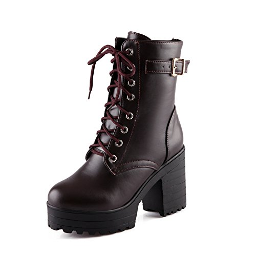 Lucksender Womens Lace Up Platform Combat Chunky Heel Martin Boots 7B(M)US Dark Brown