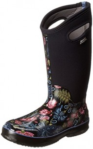 Bogs Women's Classic Tall Winter Blooms Waterproof Insulated Boot, Black Multi, 9 M US