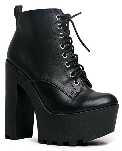 GRU Lace Up Chunky Platform Lace Up Heeled Ankle Boot Bootie