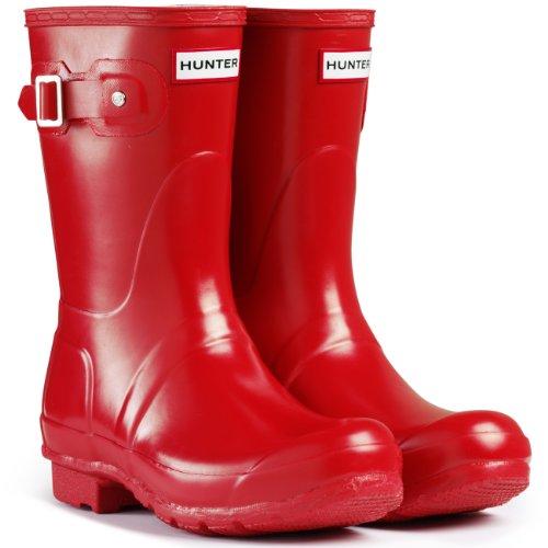 Women's Hunter Boots Original Short Gloss Snow Rain Boots Water Boots Unisex – Pillar Box Red – 6