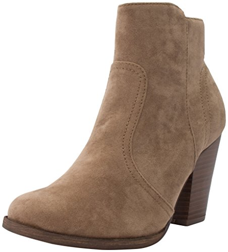 Breckelles Women's HEATHER-34 Faux Suede Chunky Heel Ankle Booties Beige 8 B(M)