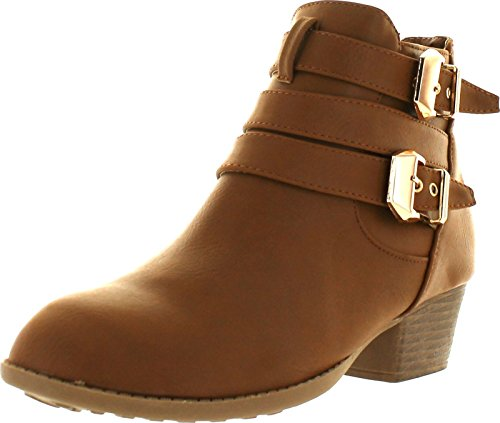 Top Moda Cl-14 Women's Buckle Straps Stacked Low Heel Ankle Booties,Tan,8