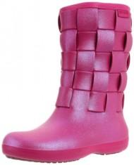 Crocs Women's Super Molded Iridescent Weave Boot,Berry/Berry,9 M US