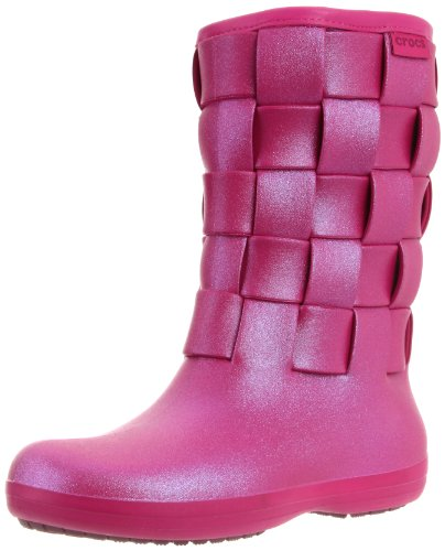 Crocs Women's Super Molded Iridescent Weave Boot,Berry/Berry,9 M US