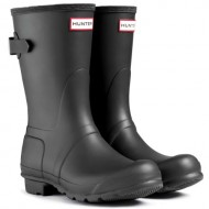 Womens Hunter Original Adjustable Back Short Wellies Festival Rain Boots – Black – 8