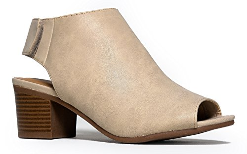 Peep Toe Stacked Heel Back Cutout Velcro Strap Ankle Boot Bootie