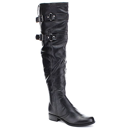 Soda Ride Women's Faux Leather Two Buckle Accent Riding Boots, Color:BLACK, Size:7.5