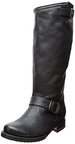 FRYE Women's Veronica Slouch Boot: Wide Calf, Black Calf Shine Leather Wide Calf, 8.5 M US