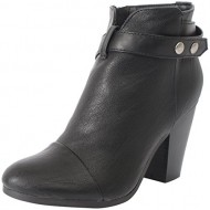 Breckelle's GAIL-22 Women's Belted Chunky Stacked Heel Ankle Booties Black 8 B(M