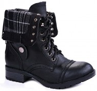 JJF Shoes H-7 Black Plaid Military Combat Foldable Cuff P-Leather Zipper Lace Up Boots-10