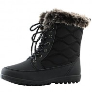 Women's DailyShoes Comfortable Round Toe Flat Ankle High Eskimo Winter Fur Snow Boots, 8