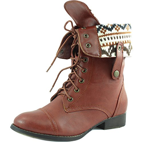 Women's Lace up Ankle Fold Over 2-Way Round Toe Mid Calf Military Combat Boots Stylish Fashion Shoes, 7