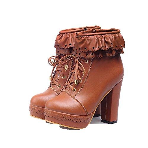 Charm Foot Womens Sweet Lolita Platform Chunky Heel Ankle Boots