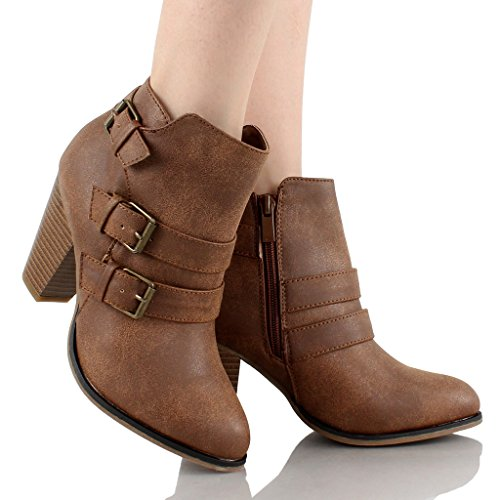 Forever Women's Buckle Strap Block Heel Ankle Booties, Tan 8