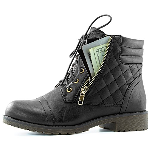 DailyShoes Women's Military Lace Up Buckle Combat Boots Ankle High Exclusive Credit Card Pocket, Black Pu, 7.5
