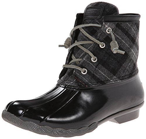 Sperry Top-Sider Women's Saltwater Boot, Black/Grey Plaid, 10 M US