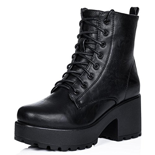 Block Heel Cleated Sole Lace Up Platform Ankle Boots Black Synthetic Leather US 7