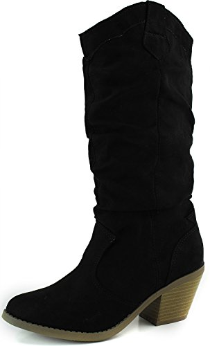 Women's Designer Mid Calf Knee High Vintage Western Cowboy Combat Stacked Stylish Casual Slouch Fashion Dress Boot,Muse-01 Black Suede 5.5