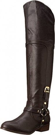 Report Signature Women's Geena Motorcycle Boot, Dark Brown, 9 M US