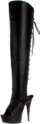 Pleaser Women's Delight-3019/B/PU Knee-High Boot,Black Polyurethane,6 M US