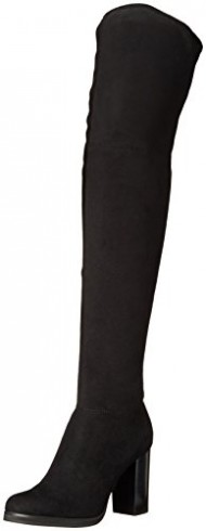 CK Jeans Women's Bisma Motorcycle Boot, Black Mirco Suede, 7.5 M US