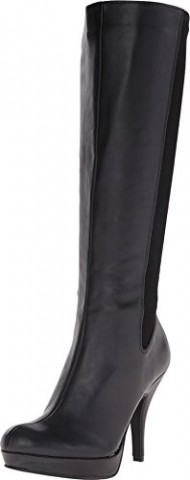 Kenneth Cole Unlisted Women's File In Two Black Stretch Pu Boot 7.5 M