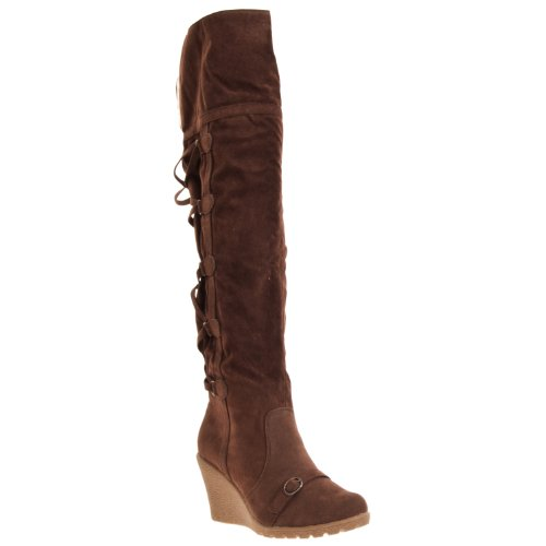 Styluxe Womens Sensi Over-the-knee Microsuede Boots, Brown, 7