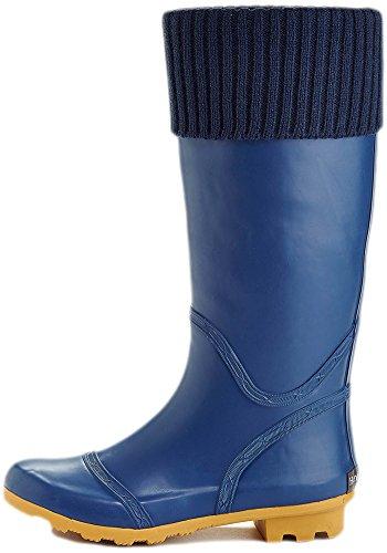 Henry Ferrera Women's Foldover Knit Waterproof Rain Boots (7 B(M) US, Navy)