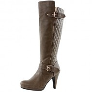 West Blvd Boston Quilted Riding Boots, Taupe Pu, 7.5