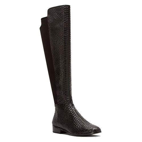 MICHAEL Michael Kors Women's Bromley Flat Boot Black Snake Print/Stretch 9 M