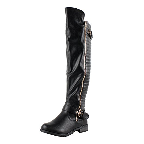 West Blvd Tampa Riding Boots, Black Pu, 7.5