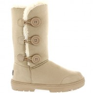 Womens Triplet Button Fully Fur Lined Waterproof Winter Snow Boots – Beige – 9 – 40 – AEA0173