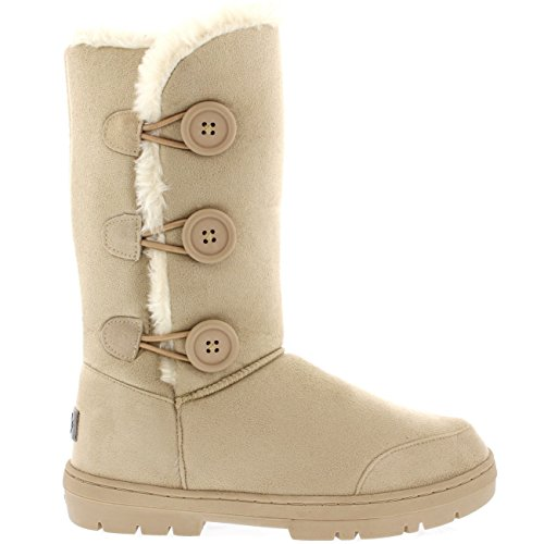 Womens Triplet Button Fully Fur Lined Waterproof Winter Snow Boots – Beige – 9 – 40 – AEA0173