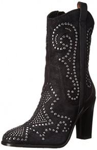 Donald J Pliner Women's Oliviasprk Western Boot, Black Oily Suede, 8 M US