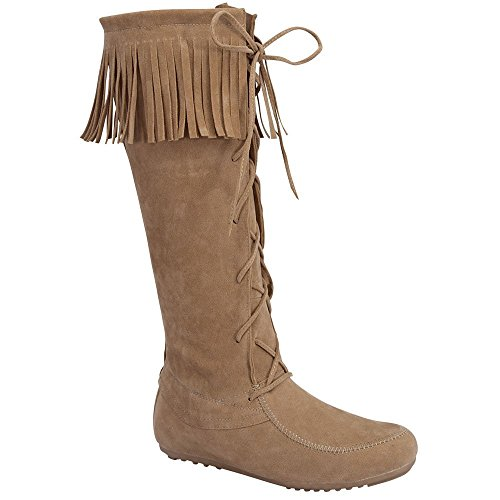 Forever Baylee-09 Women's Fashion Fringe Lace Up Knee High Boots