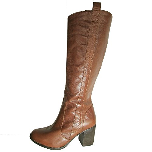 Steven By Steve Madden Womens P-Twisted Riding Boots, Cognac, US 8.5