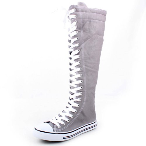West Blvd Womens SNEAKER Boots Knee High Lace Up Flat Punk Canvas Skate Shoes, Grey Linen, US 7.5