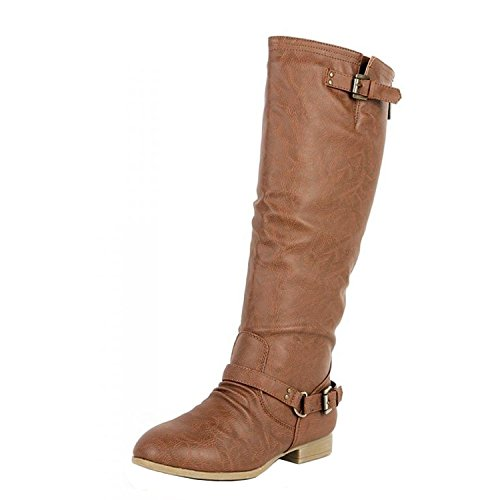 COCO 1 Womens Buckle Riding Knee High Boots,Coco-01v4.0 Tan 9