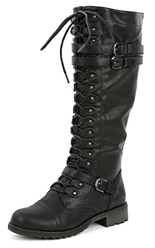 Wild Diva Women's Fashion Timberly-65 Military Knee High Combat Boots Shoes Black Pu 8