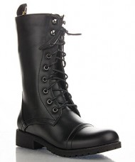Women's Military Combat Colored Lace Up Mid Calf Boots With Zipper Closure NEW SMOOTH BLACK (7.5)