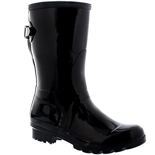 Womens Original Short Adjustable Back Gloss Rain Rubber Festival Wellies