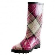 West Blvd Mid-Calf Waterproof Rainboots, Pink Plaid Rubber, 9