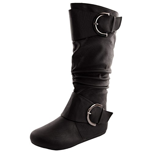Womens Top Moda Bank-85 Knee-High Round Toe Slouch Boot,Bank-85v2.0 Black 8