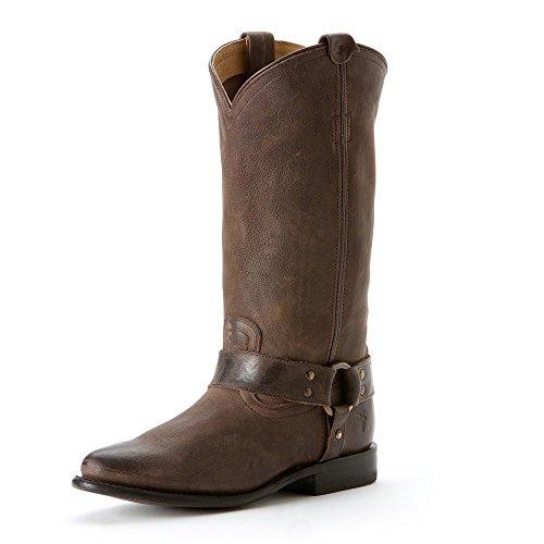 FRYE Women's Wyatt Harness Boot, Dark Brown Antique Pull-Up, 8 M US