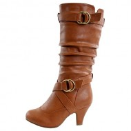Top Moda Women's Auto-2 Round Toe Dress Boot, Tan PU, 7